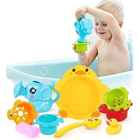 Amazon Coxeer 9pcsふりプレイセット多目的面白いお風呂のおもちゃ子供のための赤ちゃんのお風呂のおもちゃ お風呂用おもちゃ おもちゃ
