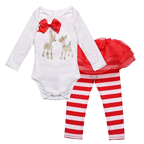 06d595ebf iiniim Infant Baby Girls Christmas Outfit Costumes Deer Romper with Striped  Pants Set