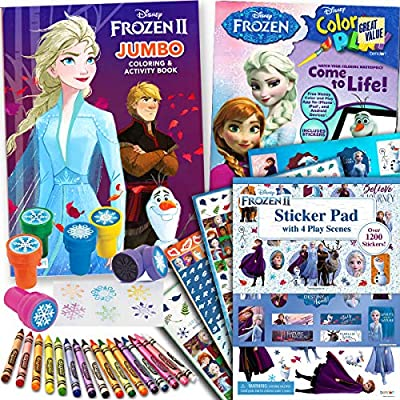 Disney Frozen and Frozen 2 Coloring and Stickers Activity Books Set - Include 2 Coloring Books with over 1200 Stickers and 4 Play Scenes, 16 Crayola Crayons and 6 Snowflake Stampers