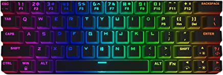 DIERYA Mechanical Gaming Keyboard 60% True RGB Backlit Bluetooth 4.0 Wired/Wireless LED Computer Keyboard for Multi-Device iPhone Android Mobile PC Laptop - Cherry MX Brown Equivalent Switch (DK-63)