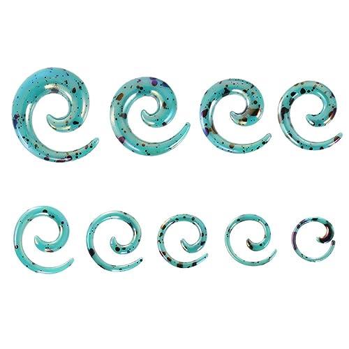 Espeedy 9 pares de oído tapón túnel espiral Taper carne orejas ensanchador expansor estiramiento cuerpo piercing