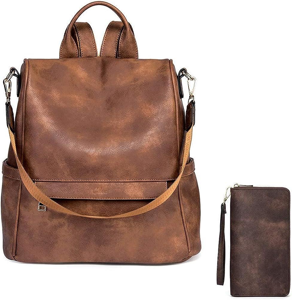 CLUCI Women Backpack Purse Fashion Leather Large Designer Travel Bag Ladies Shoulder Bags and Women Wallet Large Leather Designer Zip Around Card Holder Organizer Ladies Travel Clutch Wristlet