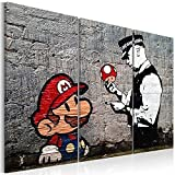 murando - Cuadro en Lienzo Banksy 60x40 cm - Impresión de 3 Piezas Material Tejido no Tejido Impresión Artística Imagen Gráfica Decoracion de Pared Street Art Mario Policeman h-B-0080-b-e