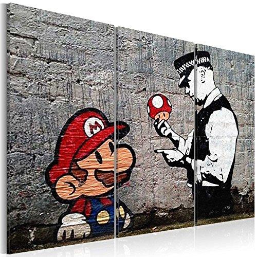 murando - Cuadro en Lienzo Banksy 120x80 cm Impresión de 3 Piezas Material Tejido no Tejido Impresión Artística Imagen Gráfica Decoracion de Pared Street Art Mario Policeman h-B-0080-b-e