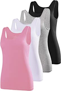 AMVELOP Elastic Tank Tops for Women Undershirts Pack of 4 Slim-Fit Camisole