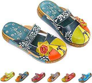 gracosy Leather Slipper, Womens Oxford Slipper Vintage Slip-Ons Mule Clog Colorful Flower Backless