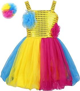 e9af2ce4f Freebily Tutú Vestido Lentejuelas Niñas para Danza Vestido Flores de  Tirantes para Actuación de Baile Disfraces
