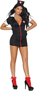 Zip Front Mini Dress and Head Piece Hospital Nurse Costume Set