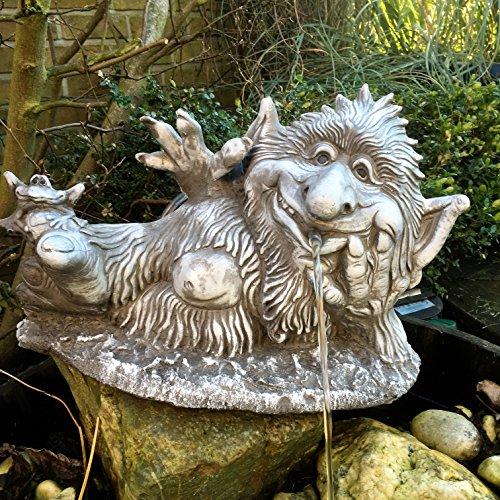 Steinfigur Wasserspeier Wichtel Troll Garten Deko Gartenfiguren Fantasiefigur