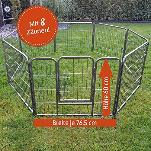 zooprinz erstklassiges Freilaufgehege (Hundezaun) Dog Run - ideal für Welpen und große Hunde -Besonders stabiles Gitter - perfekt für drinnen und draußen - 4 Modelle zur Wahl, 60 cm