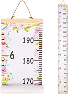Beinou Baby Growth Chart Ruler for Kids Wood Frame Height Measure Chart 7.9`` x 79`` Canvas Hanging Height Growth Chart for Baby Nursery Decoration Baby Shower Gift (Pink Flowers)
