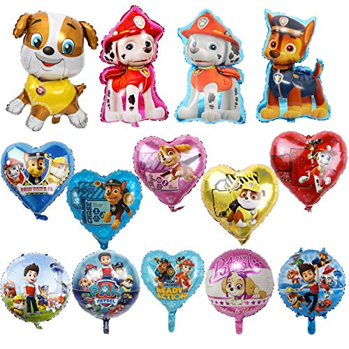 KRUCE 15 PC Paw Dog Patrol Birthday Party Foil Balloons, Paw Dog Patrol Foil Balloons for Kids Gift Fiesta de cumpleaños Suministros Decoración