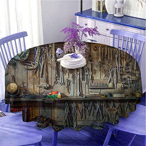 Man Cave Decor Waterproof round table cloth Vintage Tools Hanging On A Wall In A Tool Shed Workshop Fixing Equipment Holiday decoration Diameter 63 inch Multicolor