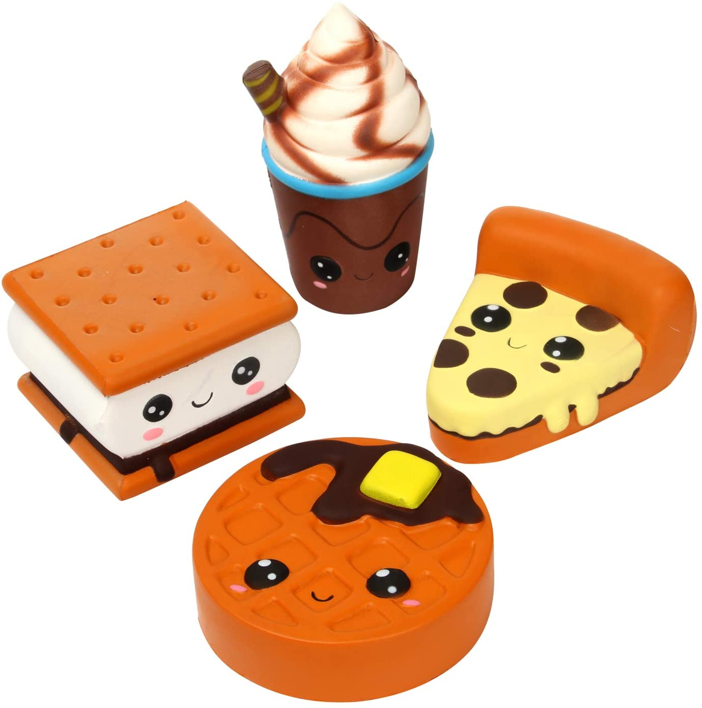 Atlanta Mall TEEGOMO 4 Pcs Squishies Big Eyes Pizza Coffe Super beauty product restock quality top Waffle Biscuit Cup