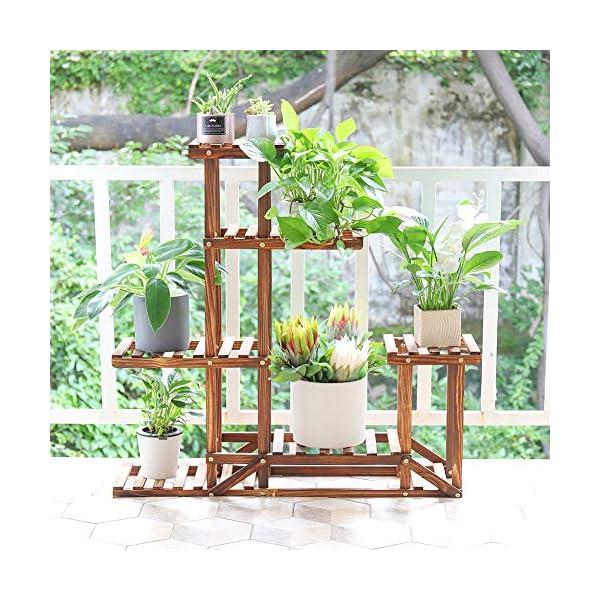 Soporte de Madera para Flores Estantería Decorativa de Macetas Plantas para Exterior Interior con 6 estantes 96×95×25cm