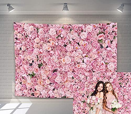 Telón de fondo de flores rosa para pared de boda, para niñas...