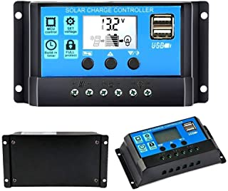 30A Solar Charge Controller 12V/24V Auto, Solar Panel Charge Controller 30Amp Solar Regulator with Dual USB LCD, Adjustable Parameter Backlight LCD Display and Timer Setting ON/Off Hours