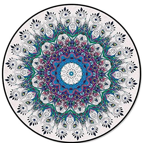 qwertyuiop Tapis Déstockage Plume Paon Mandala Violet Imprimé Enfants Tapis Bébé Ramper Rond Tapis pour Salon Table Basse Tapis-D 140