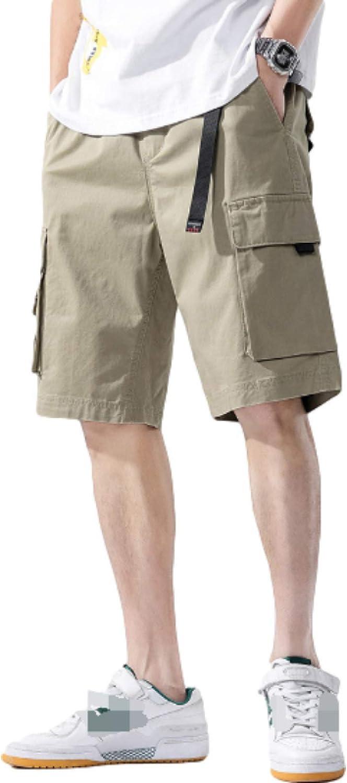 Segindy Men's Cargo Shorts Summer Personality Big Pockets Fashion Printing Casual Loose