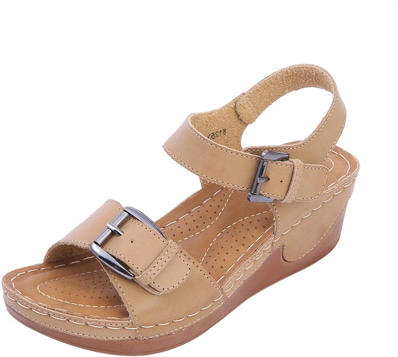 MEIZOKEN Women's Fashion Ankle Strap Buckle Platform Wedge Sandals Comfortable Open Toe Anti-Skid Walking shoes