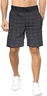 BLIVE Men's Cotton Checkered Shorts Charcoal Black