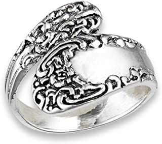 Vintage Celtic Knot Spoon Victorian Style Ring Sterling Silver Band Sizes 6-10