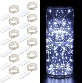 MINGER 12 Packs Fairy String Lights, 3.3FT 20 LEDs Battery Operated Jar Lights Bedroom Patio Wedding Party Christmas (Cool White)