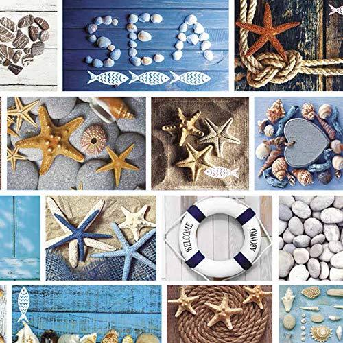 Mambo-Design Wachstuch Marina Blau · Eckig 140x100 cm · Länge wählbar· abwaschbare Tischdecke 0219