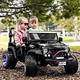 Trail Explorer 12V Power Children Ride-On Car Truck with R/C Parental Remote + EVA Foam Rubber LED Wheels + Leather Seat + MP3 Music Player with Wireless Streaming and FM Radio + LED Lights (Black)