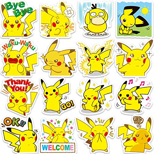 Later Pegatina para maleta Pikachu 80 Pokemon Maleta, 80 pegatinas de Pokemon Maleta de guitarra, 80 unidades