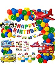 MMTX Party Decoration, Birthday Party Balloons Happy Birthday Banner Police Car,Airplane,Train,Fire Truck Foil Balloons Transport Theme Cake Topper Party Supplies for Kids Birthday Decoration