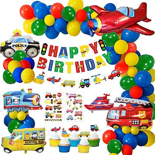 MMTX Geburtstagsdeko Junge, Geburtstag Folien Luftballon Flugzeug Zug Polizeiwagen Schulbus Yacht Feuerwehrauto Ballons Happy Birthday Banner Kuchendeckel für Babyshower Kinder Baby Junge Party