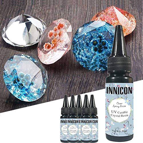 INNICON 30MLx5 Resina epoxi cristalina de curado rápido no tóxica Sin Mezcla de Pegamento UV para joyería Hecha a Mano Conjuntos de decoración Artesanal Colgantes Encantos Collares Pulseras