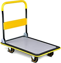 Goplus Folding Platform Cart, 660LBS Rolling Flatbed Cart Hand Platform Truck Push Dolly for Loading, Yellow