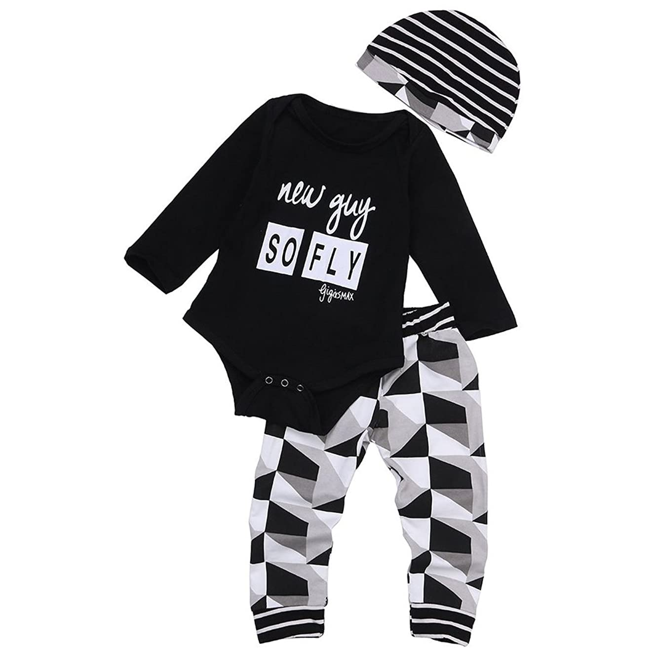 MIOIM 3pcs Baby Boys Girls Rompers Bodysuit+Long Pants+Hat Outfits Clothing Set