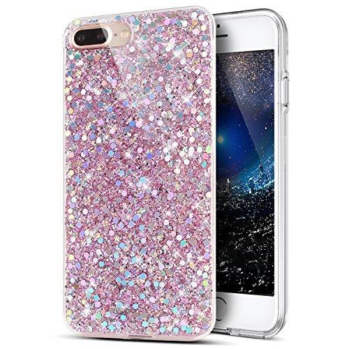 ikasus - Funda de poliuretano termoplástico flexible con purpurina y efecto de diamantes 3D, suave y antigolpes para iPhone, 7 Plus y 8 Plus