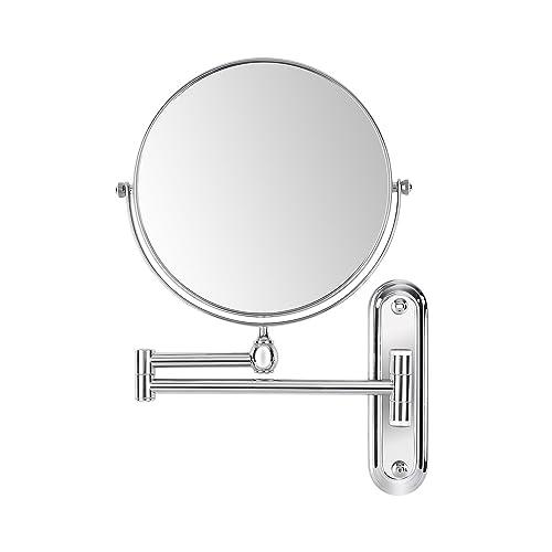 FEMOR Miroir Mural Double Face 360°Pivotant Extensible cosmétique de 8 inch/Ø 20cm Miroir Maquillage grossissement 10 fois