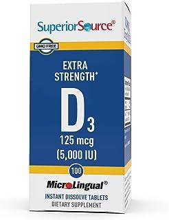Superior Source Vitamin D3 5000 IU, Under The Tongue Quick Dissolve Sublingual Tablets, 100 Count, Promotes Strong Bones a...