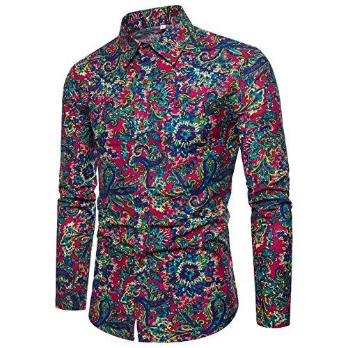Camisas para Hombre Primavera y otoño Tendencia de Moda Impresión Solapa Camisa de Manga Larga Camisas de Manga Larga Informales Europeas y Americanas 3XL