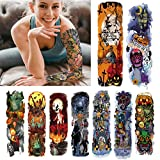 KOMMOK 14 Sheets Halloween Waterproof Full Arm Temporary Tattoo Stickers, Nightmare Before Christmas Skull Pumpkin Ghost Fake Body Art Arm Tattoo For Kids, Adults, Halloween, Party, Masquerade