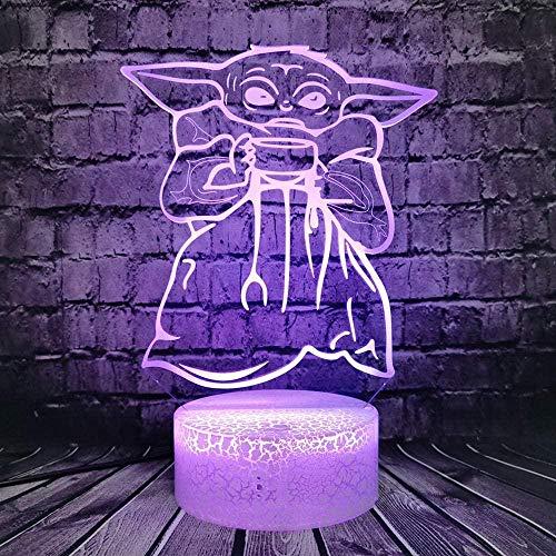 Master Yoda Star Wars Lámpara de ilusión 3D de dibujos animados, lámpara de estado de ánimo 3D LED USB con control remoto óptico táctil 7 colores cambiantes de luz, lámpara de ilusión óptica 3D