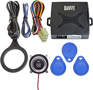BANVIE Car Alarm System RFID Push Engine Start Button & Keyless Go System for Vehicle Anti-Thief Double Layer Start Protec...