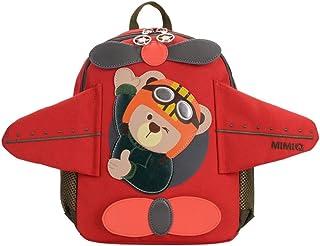 Mochilas Niños Escolares 3D Bear Aeronave Infantil Bolso Escolar para Niño Niña Guardería Primaria (Rojo)