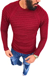 OTW Mens Fashion Long Sleeve Round Neck Pleated Slim Knitted Pullover Sweater