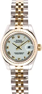Ladys New Style Heavy Band Stainless Steel & 18K Gold Datejust Model 179173 Jubilee Band Fluted Bezel White Roman Dial