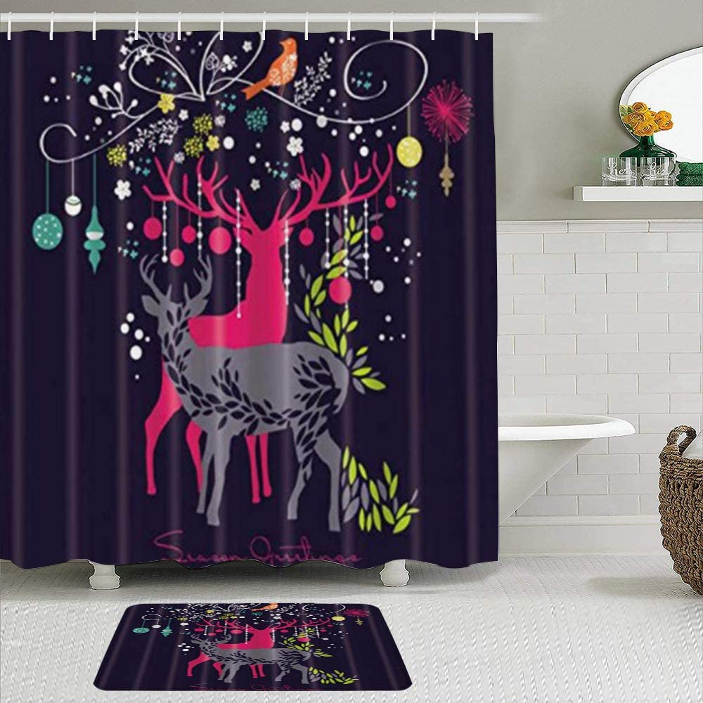 We OFFer at cheap prices CIKYOWAY 2Pcs Two Christmas Reindeer Curtain Super Special SALE held Non with Shower Set