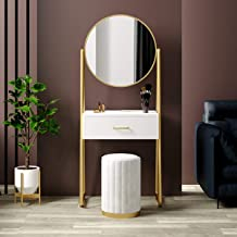 A-Shaped Modern Dressing Table, Dressing Table Set, with 2 Large Drawers and Sliding Rails with Round Mirror and Stool, Wo...