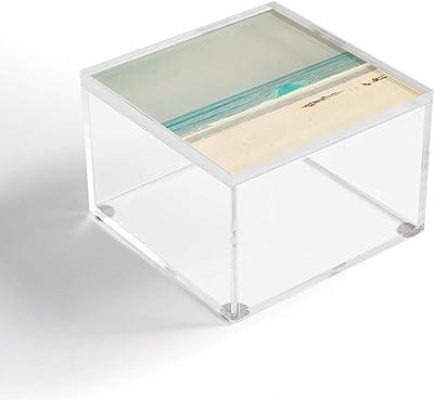 "Society6 Ingrid Beddoes Turquoise Beach Umbrella Acrylic Box, 4"" x 4"" x 2.5"""