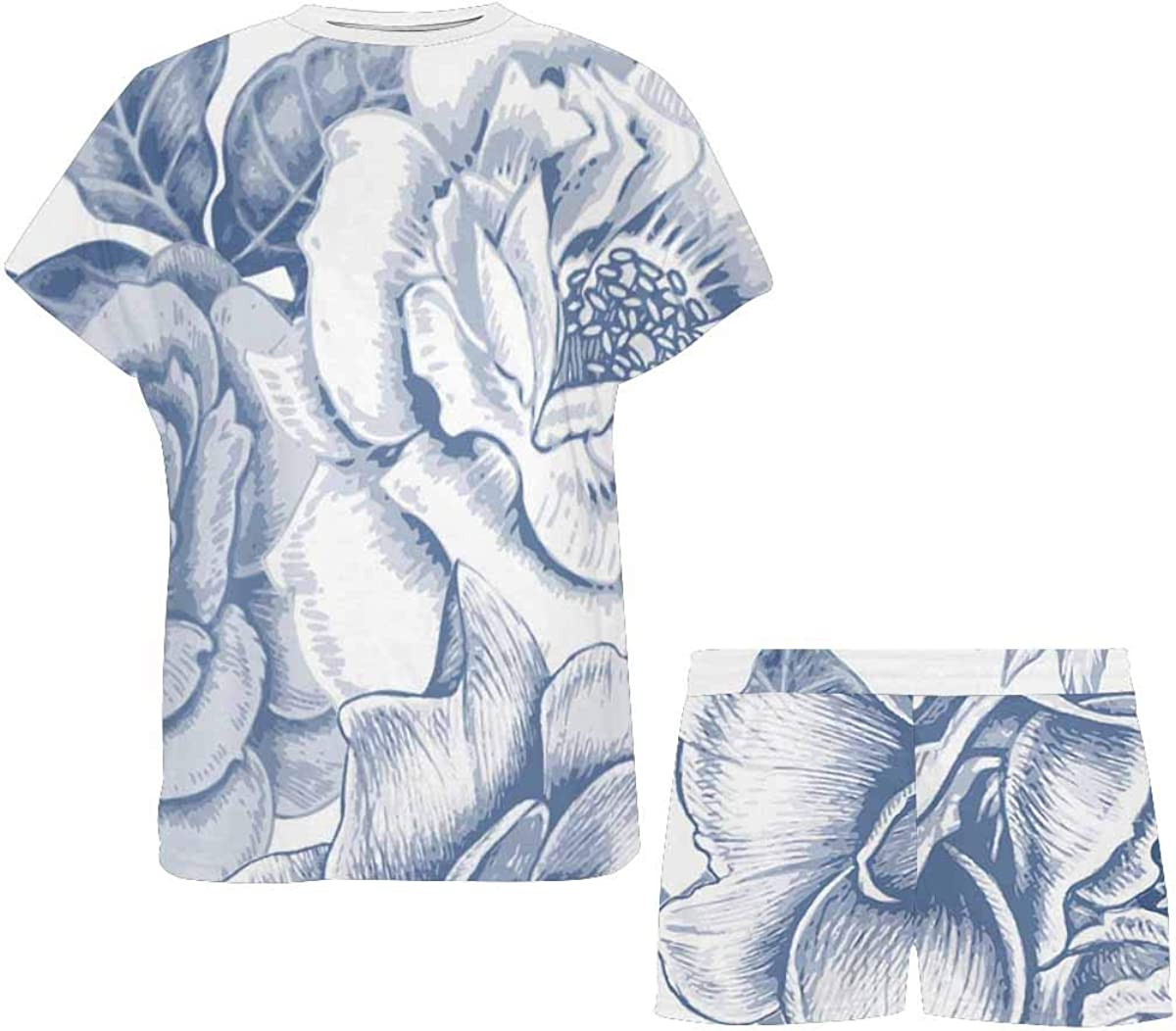 InterestPrint Roses Peonies Women's Pajama Sets Short Sleeve Shorts - Pajamas for Women