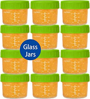 Glass Baby Food Storage Containers 4 oz Glass Baby Food Jars with Lids Reusable Leak-Proof for Infant and Babies Microwave and Dishwasher Safe Set of 12 (Green)